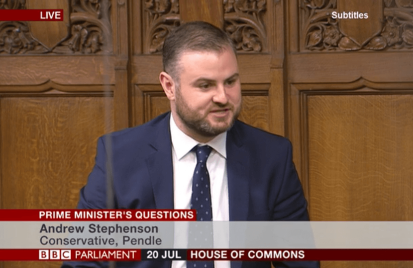 Andrew Stephenson MP asking a question at Prime Ministers Questions