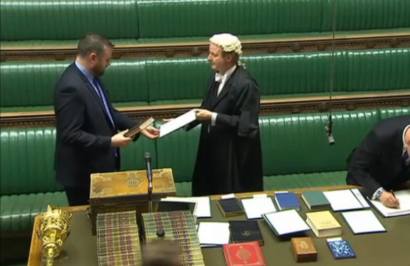 Andrew being sworn in as Pendle's MP