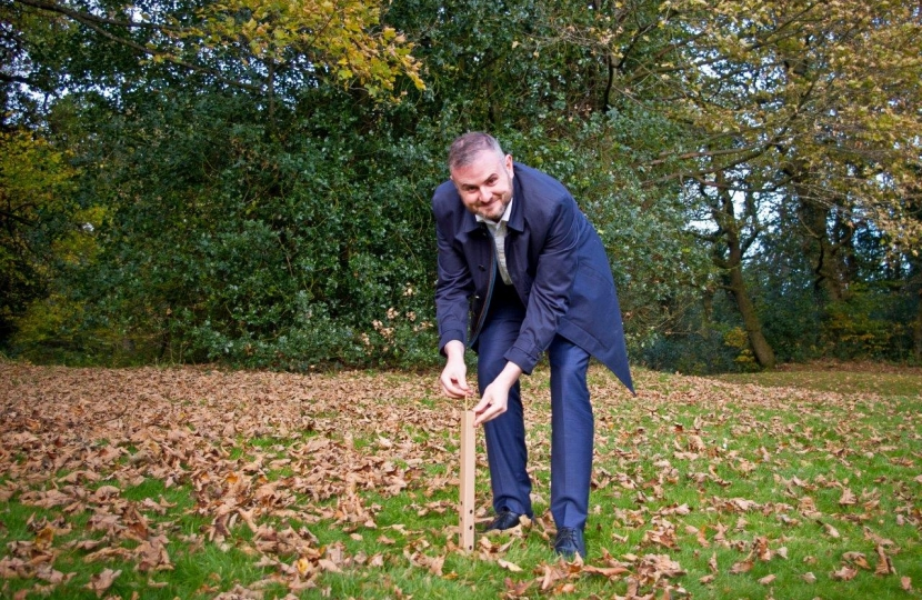 Andrew Stephenson MP with one of the newly planted trees