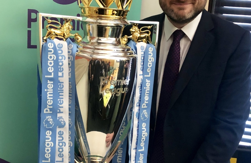 Andrew Stephenson MP with the Premier League trophy