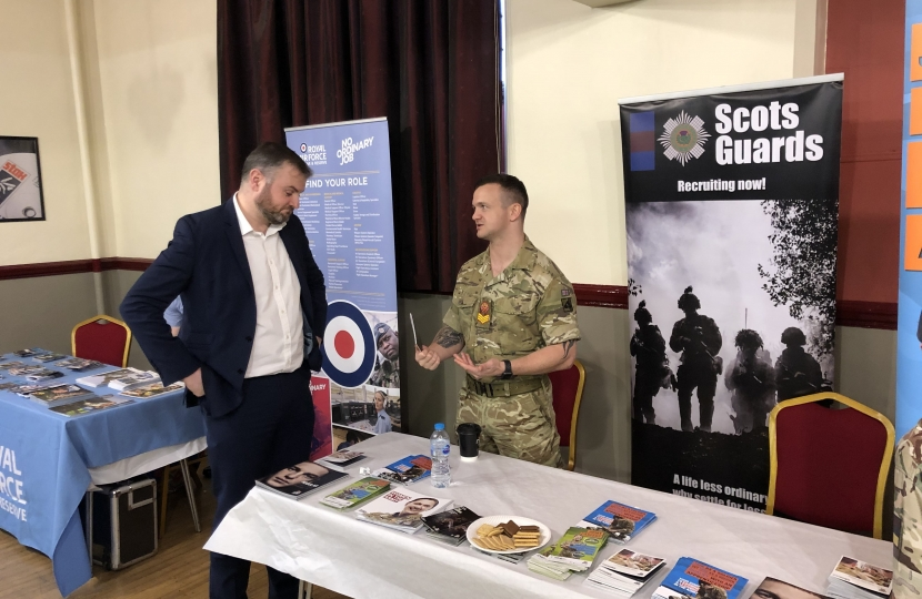 Photos attached show Andrew Stephenson MP with representative from the British Army